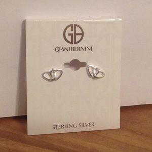 Giani Bernini SS Silver Double Heart Earrings